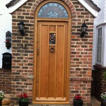 new wooden door installed